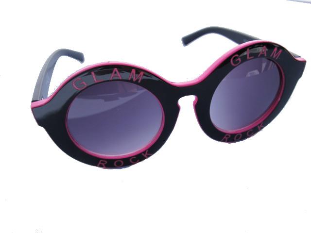 Runda rosa och svarta solglasögon - GLAM ROCK