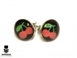 Knappörhängen - Körsbär