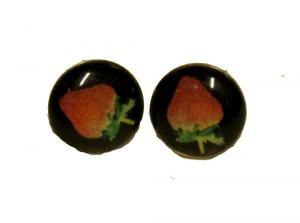 Knappörhängen - Jordgubbar