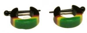 Örhängen - Plastringar rastafärg