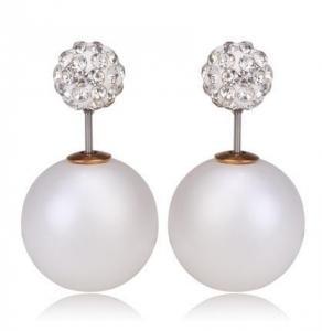 Vita dubbel pärlörhängen med vita kristaller