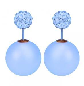 Blåa dubbel pärlörhängen med vita kristaller