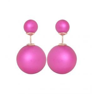 Rosa dubbel pärlörhängen