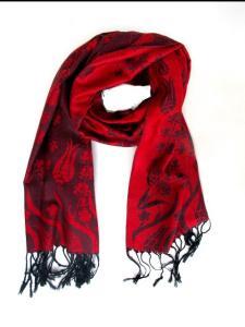 Halsduk - Blommotiv Röd svart