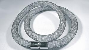 Dubbel svart armband med vita kristaller
