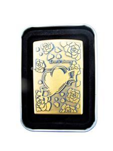 Hjärta och rosor - Guldfärgade bensintändare