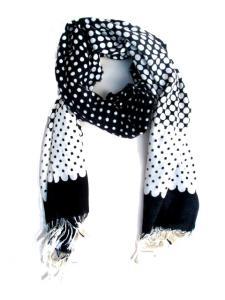Halsduk - Prickig  svart och vit