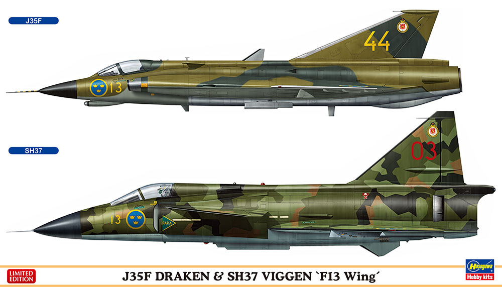 "J35F DRAKEN & SH37 VIGGEN ""F13 Wing"" (Two kits in the box) 1/72"