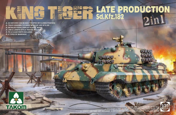 WWII German Heavy Tank Sd.Kfz.182 King Tiger  Late Production 2 in 1 (without interior) 1/35