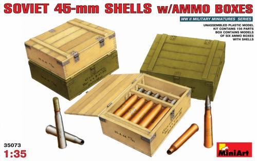 SOVIET 45-mm SHELLS w/AMMO BOXES 1/35