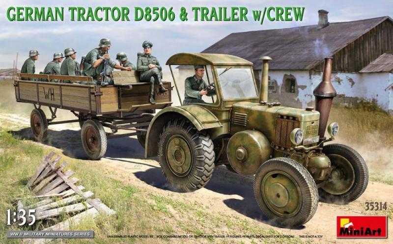 German Tractor D8506 & trailer w/ crew 1/35