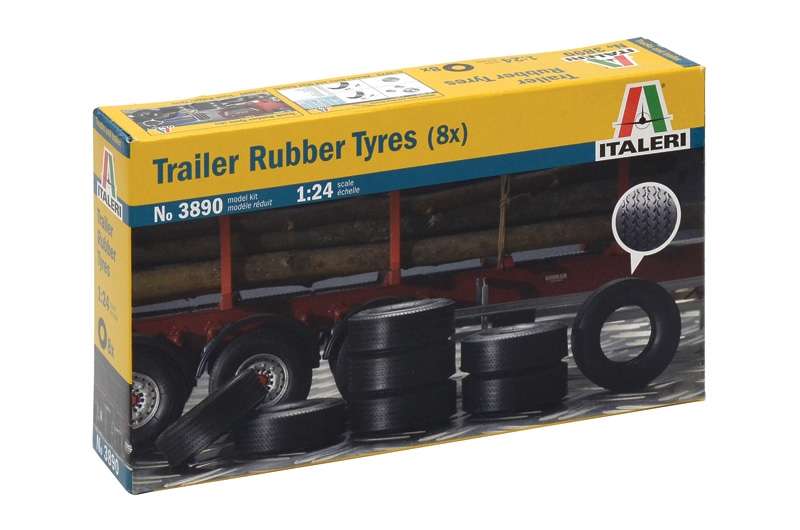 Trailer Rubber Tyres 1/24