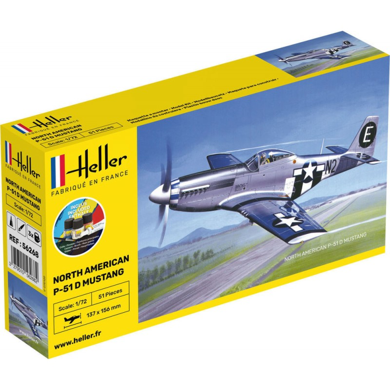 P-51 Mustang D COMPLETE w. Glue, Paint,Brush 1/72