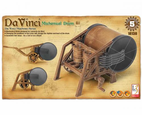 Leonardo da Vinci Mechanical Drum (no glue, movable parts)
