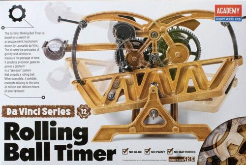 Leonardo da Vinci Rolling Ball Timer (no glue, movable parts)