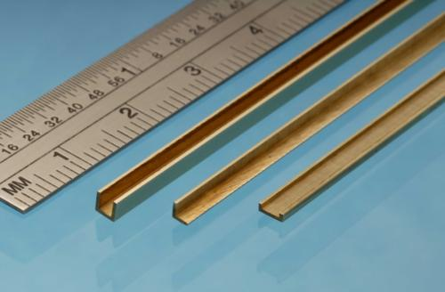 Brass U Channel, 1.5 x 1.5 x 1.5 mm, 1pc, 305mm