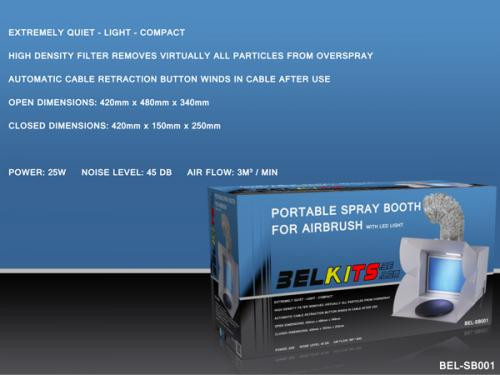 Portable Spray Booth for Airbrush with LEDlights (multiple setup possible)