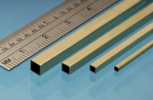 Square Brass Tube, 3.96 x 3.96 mm, 2pcs, 305mm