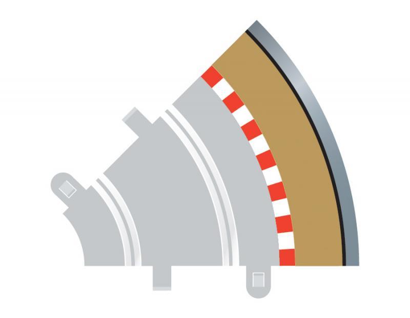 Radius 1 Curve Outer Borders 45° x 4