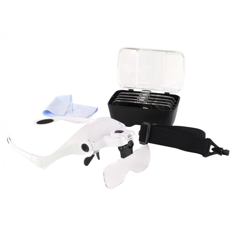 Magnifier Glasses with Headband w. LED light and 5 Lenses