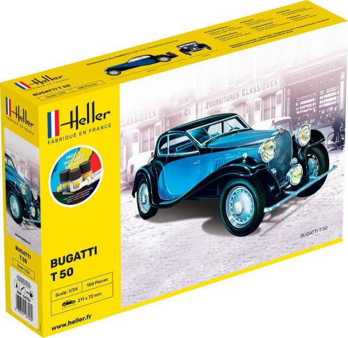 Bugatti T 50 COMPLETE w. Glue, Paint, Brush 1/24