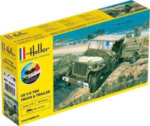 US 1/4 Ton Truck & Trailer Complete incl. glue, paints and brush 1/72