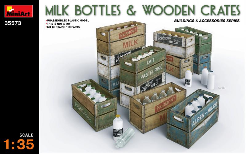 MILK BOTTLES & WOODEN CRATES 1/35