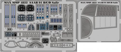 SAAB 91B/C/D Safir detail set for Tarangus 1/48
