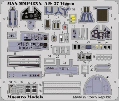 SAAB AJ/AJS/SH 37 Viggen cockpit detail set (Special Hobby / Tarangus) 1/48