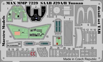 SAAB J29A/B Tunnan detail set for Tarangus 1/72