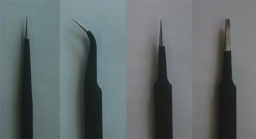 Precision tweezer set - 4 pcs