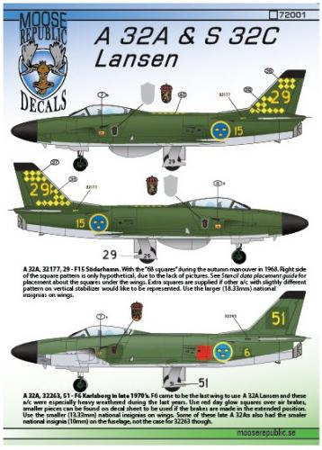 SAAB A32A & S32C Lansen 1/72