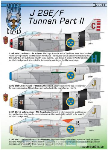 SAAB 29E/F Tunnan del 2 1/72