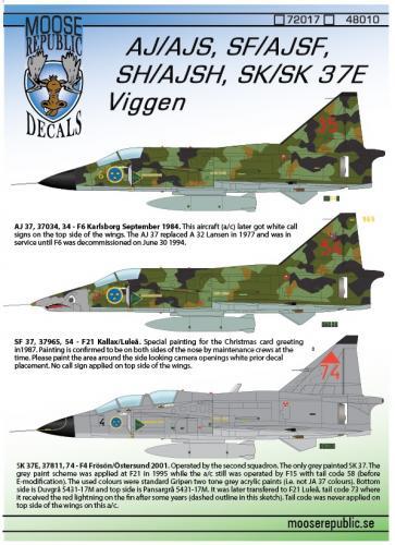 SAAB AJ/AJS, SF/AJSF, SH/SJSH, Sk37 Viggen 1/72