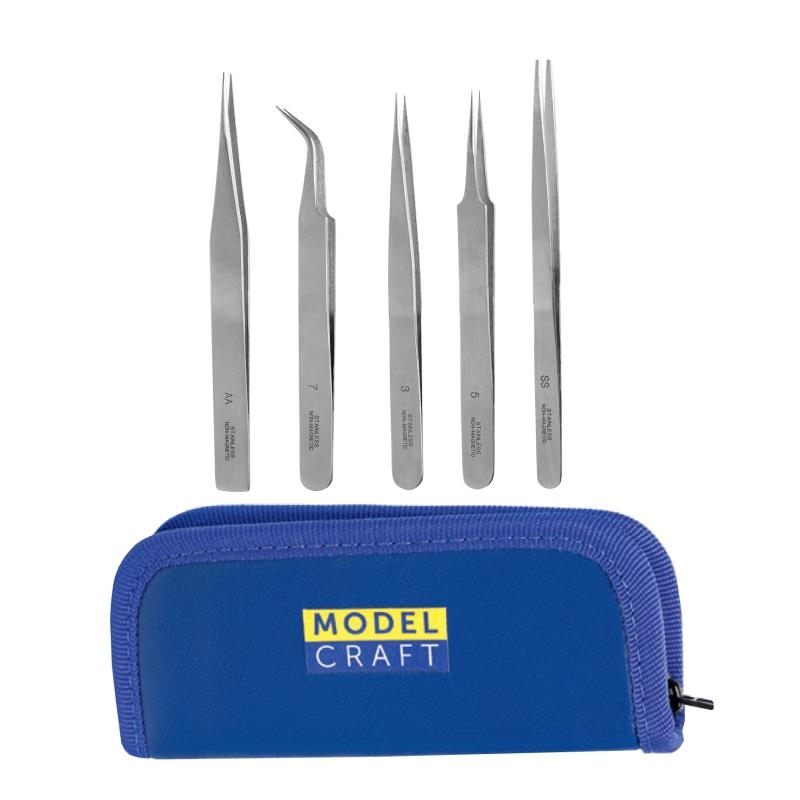 SET OF 5 STAINLESS STEEL TWEEZERS, anti magnetic, incl. storge case