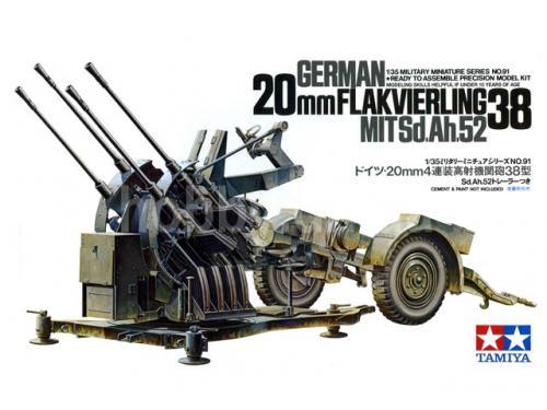 German 20mm Flakvierling 38 Mit Sd.Ah.52 1/35