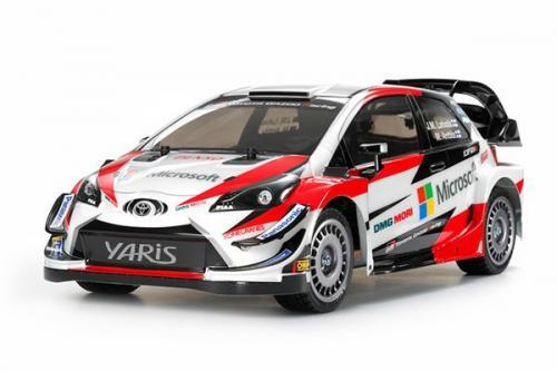 Radiostyrd bil, röd och vit sportbil R/C TOYOTA GAZOO RACING WRT/YARIS WRC
