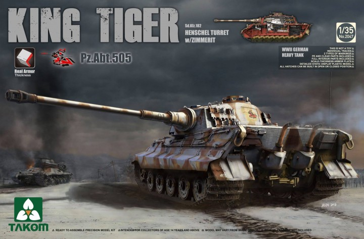 KING TIGER HENSCHEL TURRET ABT. 505 W / ZIMMERIT AND INTERIOR 1/35