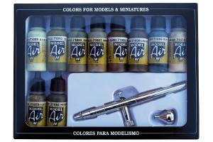 CAMOUFLAGE COLORS 10X17ML.+AIRBRUSH