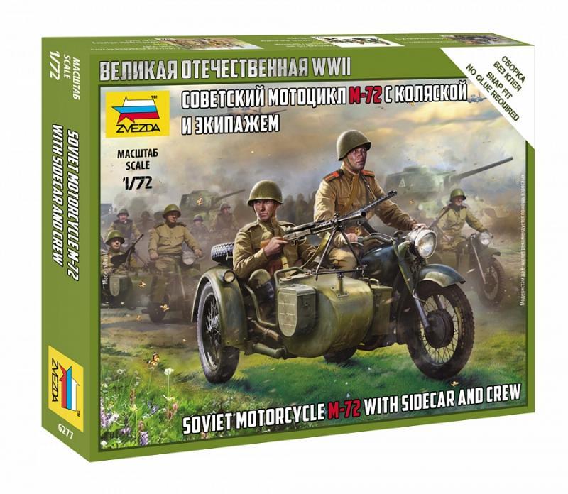 Soviet M-72 Sidecar Motorcycle w/Crew - SNAP 1/72