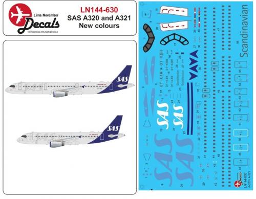 Airbus A320 incl. new livery SAS Decal 1/144