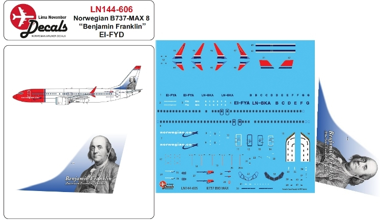 Boeing 737-8 Max incl. Norwegian Tailhero Benjamin Franklin 1/144