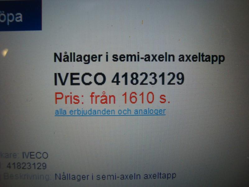 Iveco Nållager  nr 41823129