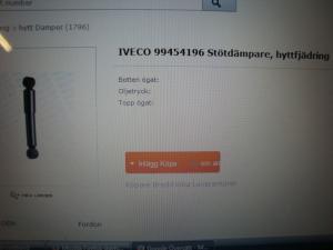 Iveco reservdelar hyttstötdämpare nr 99454196