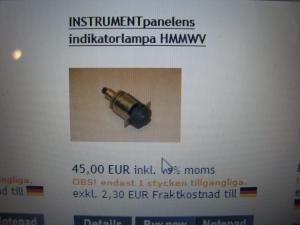 Hummer H1 reservdelar Indikatorlampa nr. 6210-01-208-4790