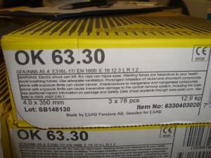 Esab Svetselektroder   OK 63.30 4,0mm 4,3kg/hylsa Lättsvetsad rostfri elektrod för de flesta lägen!