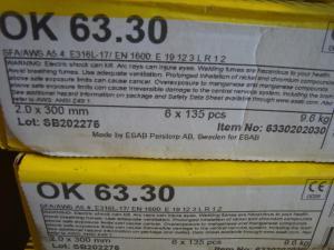 Esab Svetselektroder   OK 63.30 2,0mm 1,6kg/hylsa Lättsvetsad rostfri elektrod för de flesta lägen!