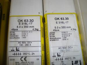 Esab Svetselektroder   OK 63.30 5,0mm 4,3kg/hylsa Lättsvetsad rostfri elektrod !