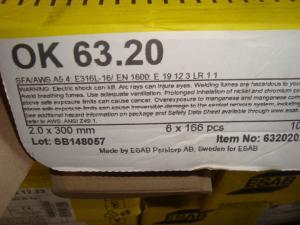 Esab Svetselektroder   OK 63.20 2,0mm 1,7kg/hylsa  Rostfri lämplig för tunnväggiga rör