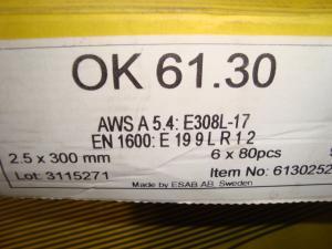 Esab Svetselektroder   OK 61.30  2,5mm 1,6kg/hylsa En extra lågkolhaltig elektrod i rostfritt!